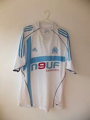 Marseille Home Shirt 2004. Large. Adidas. White Adults Olympique de Football Top