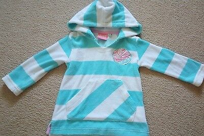 Girls animal blue and white hooded top, age 2