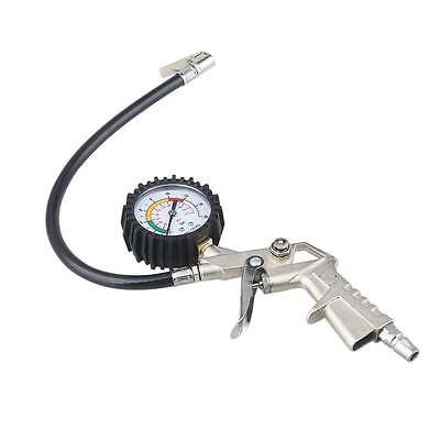 300 PSI Pistol-type Air Chuck with Dial Tire Inflator Gauge w/ Flexible Hose