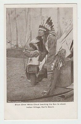 Earl's Court Exhibition Indian Village Sioux Chief White Cloud + son  postcard