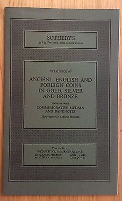 LAC SOTHEBY'S catalogue of ANCIENT, ENGLISH AND FOREIGN COINS JANUARY 1978