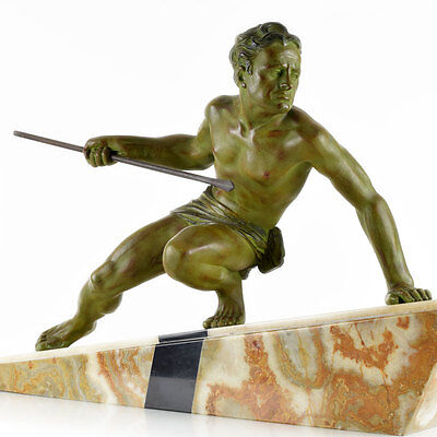 Stunning 1930s French ART DECO Nude Male SPEAR HUNTER SCULPTURE by BEZIN, signed
