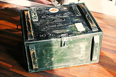 Vintage Antique Military Army Chest Trunk Box Industrial Coffee Table Storage
