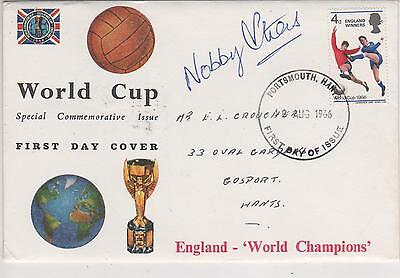 """"""" 1966 World Cup Winners """"  Fdc - Signed-  Nobby Stiles"""
