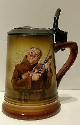 Antique Beer Stein Monk playing Fiddle