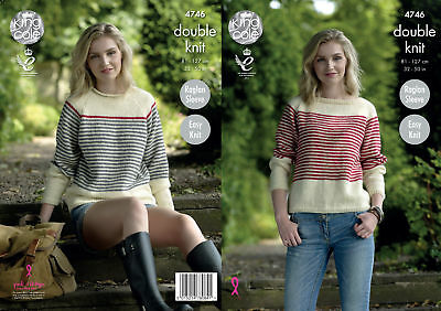 Easy Knit Womens High or Boat Neck Sweaters Knitting Pattern King Cole DK 4746