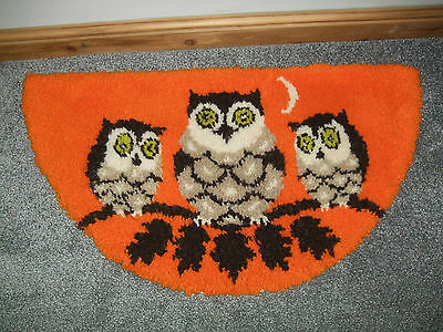 Owls Family Half Circle Latch Hook Rug Completed Orange 103X56Cm