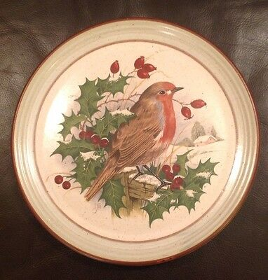 Purbeck Pottery Robin Holly Berry Christmas Plate 22cm 8.5""