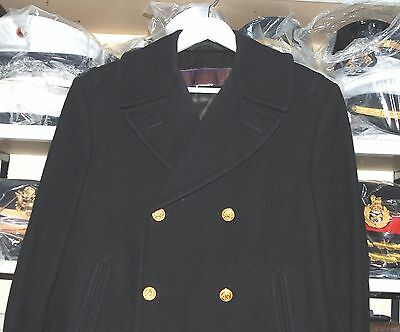 Us Navy Officers Authentic Refer Pea Coat With Loops & Slanting Pockets (Rare)