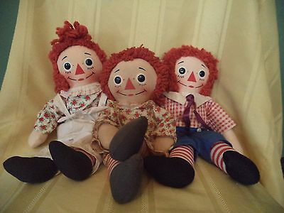 Vintage lot of RAGGEDY ANN & ANDY musical dolls music box KNICKERBOCKER