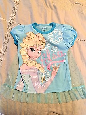 4T disney Elsa Frozen Short Sleeve Shirt- Detachable Lace Cape Blue