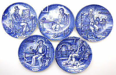 Lovely Set of 5 Vintage Blue Enoch Wedgwood Themed Collectable Plates