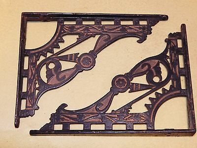 ***fabulous Pair Of Antique,, Art Deco ,,cast Iron Shelf Brackets ***