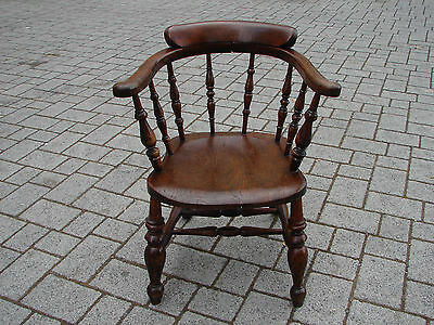 Vintage Captains Chair Oak Smokers Arm Chair TLC Global Shipping