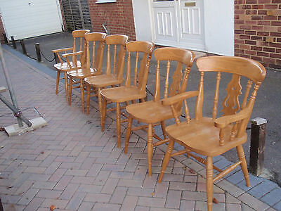 6 SOLID BEECH FARMHOUSE DINING CHAIRS (2 x CARVERS) WELL MADE!!