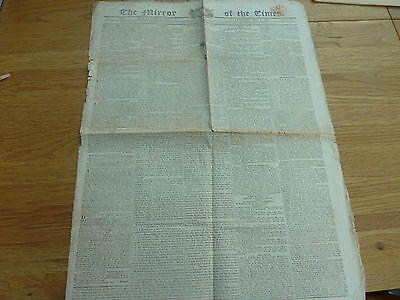 1818 April 25 The Mirror On The Times Newspaper Original 4 Page