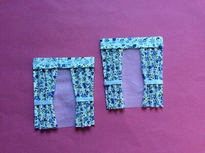 "2 Blue patterened dolls house curtains  3.5"" X 4"""