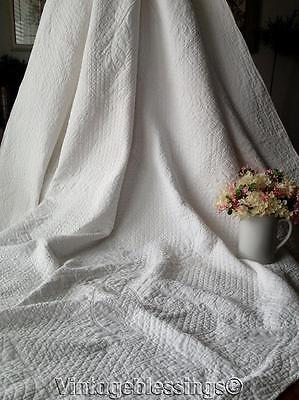 """Densely Quilted ANTIQUE c1900 Bridal QUILT 87"""" x 76"""""""