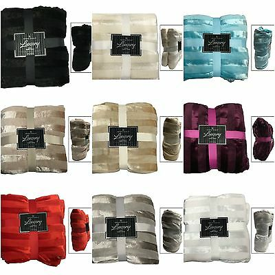 Luxury Throws Double King Size Fleece Warm Extra Large Blanket Sofa Glossy New