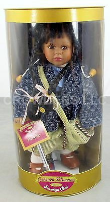 """Collectible Memories Genuine Porcelain Doll """"Brooke"""" w/ Razor Scooter & Display"""
