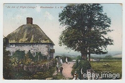 Blackwater - children by cottage 1906 postcard nr Newport Isle of Wight