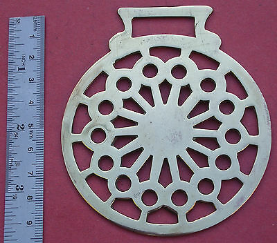 Old Horse Brass, Geometric Lacy Sun design, Free P&P, pressed or Stamped