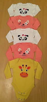 Bundle 5 x baby girls long sleeved vests with animal faces age 3-6 months