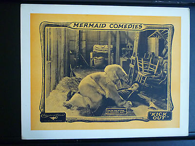 1923 Kick Out - Rare N. Mint Cond. Silent Comedy Lobby Card - Bear Attacks Man