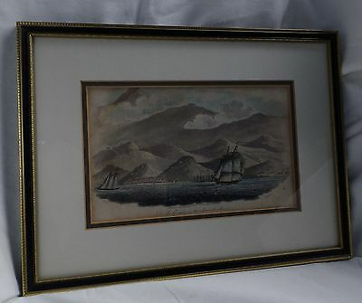 Antique Print Of The Spanish Main..published 1808  ..nautical .framed And Glazed
