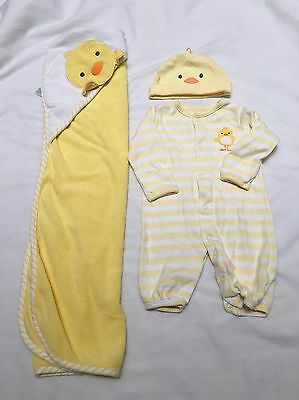 Newborn Baby Boy Girl Neutral Duck Duckie Outfit Sleeper Hat Towel Set Lot 3 Mth