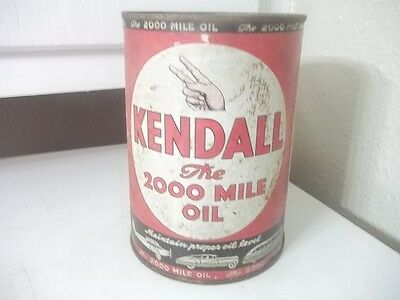 Vintage Estate Find Quart Metal Advertising Kendall 2,000 Mile Empty 5