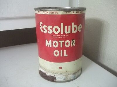 Vintage Estate Find Quart Metal Advertising Esso Lube Can Empty