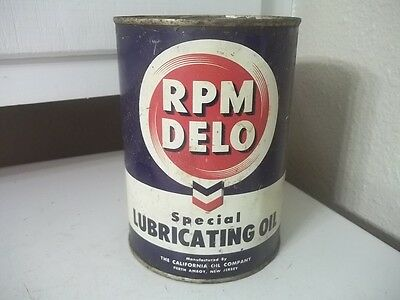 Vintage Estate Find Quart Metal Advertising Rpm Delo Motor Oil Can Empty