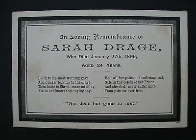 Victorian remembrance / memoriam card for Sarah Drage 1896 - Aged 24