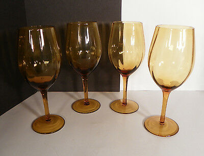 Amber Glass Optic Water Goblets LOT OF 4
