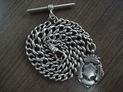 1894 Solid Silver Albert Pocket Watch Chain & Fob 45g