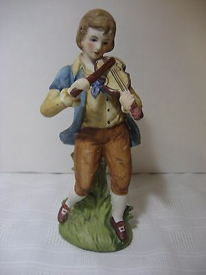 Lefton Bisque Figurine - Boy Young Man Playing Violin Fiddle - #727