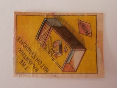 Vintage Match Box / Matchbox Label727