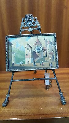Sterling silver Antique authentic 1890's miniature Oil painting table clock RARE