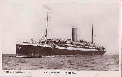 RP S,S ARAGUAYA  SUNK WW2  HOFFMANN STEAM PACKET COMPANY  REAL PHOTO c1920