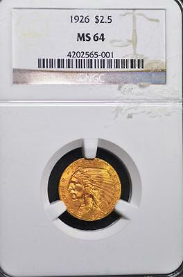 1926 $2.50 Gold Indian Graded as MS-64 NGC