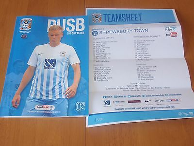 COVENTRY CITY v SHREWSBURY TOWN - 13/8/2016 - PROGRAMME AND TEAMSHEET