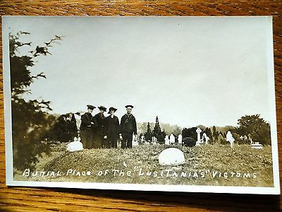 Rare EARLY RPPC Burial Place of the LUSITANIA Victims IRELAND Graveyard People