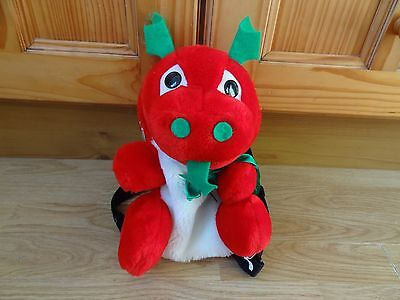Plush Red, White & Green DRAGON Backpack / Soft Toy 12 ins High
