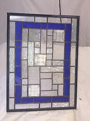 Clear, White and Blue Textured STAINED GLASS Window Hanging Panel  SUNCATCHER