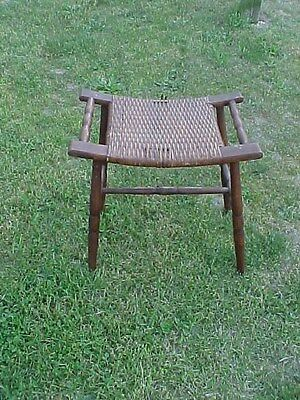Vintage Woven Wicker Rattan Cane Wooden Foot Stool/Bench