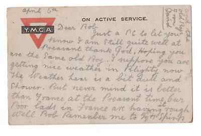 Rare Genuine First World War Postcard Posted Army Office 1918  Active Service