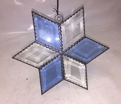 Blue and white Star Beveled STAINED GLASS Window Hanging Panel - SUNCATCHER