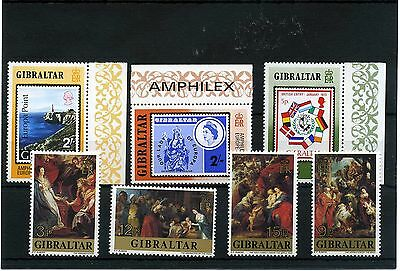 Gibraltar 7 --1977 Unmounted Mint Stamps On Stockcard