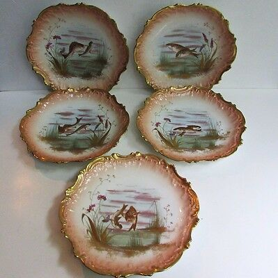 Set of 5 Gorgeous Antique Hand Painted French AK Limoges Fish Plates